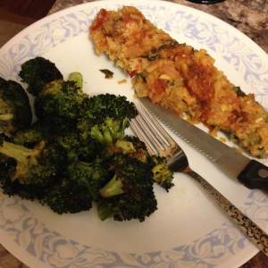 Zucchini boats with a side of roasted broccoli prepared by yours truly