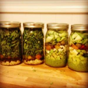 Kale Salad on the left; zucchini salad with avocado dressing on the right.