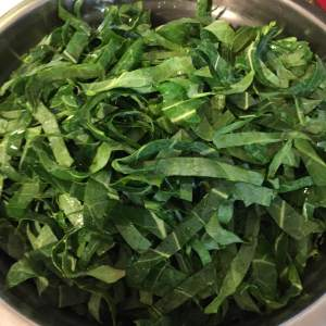 Collards, ready for the pan