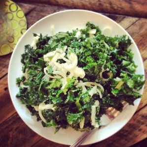 Kale and Brussels Sprout Salad--perfect meal or side!