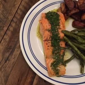 Seared Salmon + Lemon Dill Vinaigrette