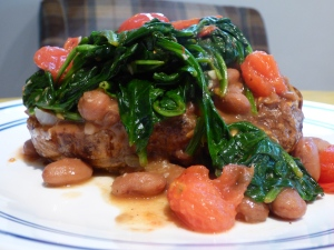 Tuscan Bean + Cherry Tomato & Spinach Loaded Potato