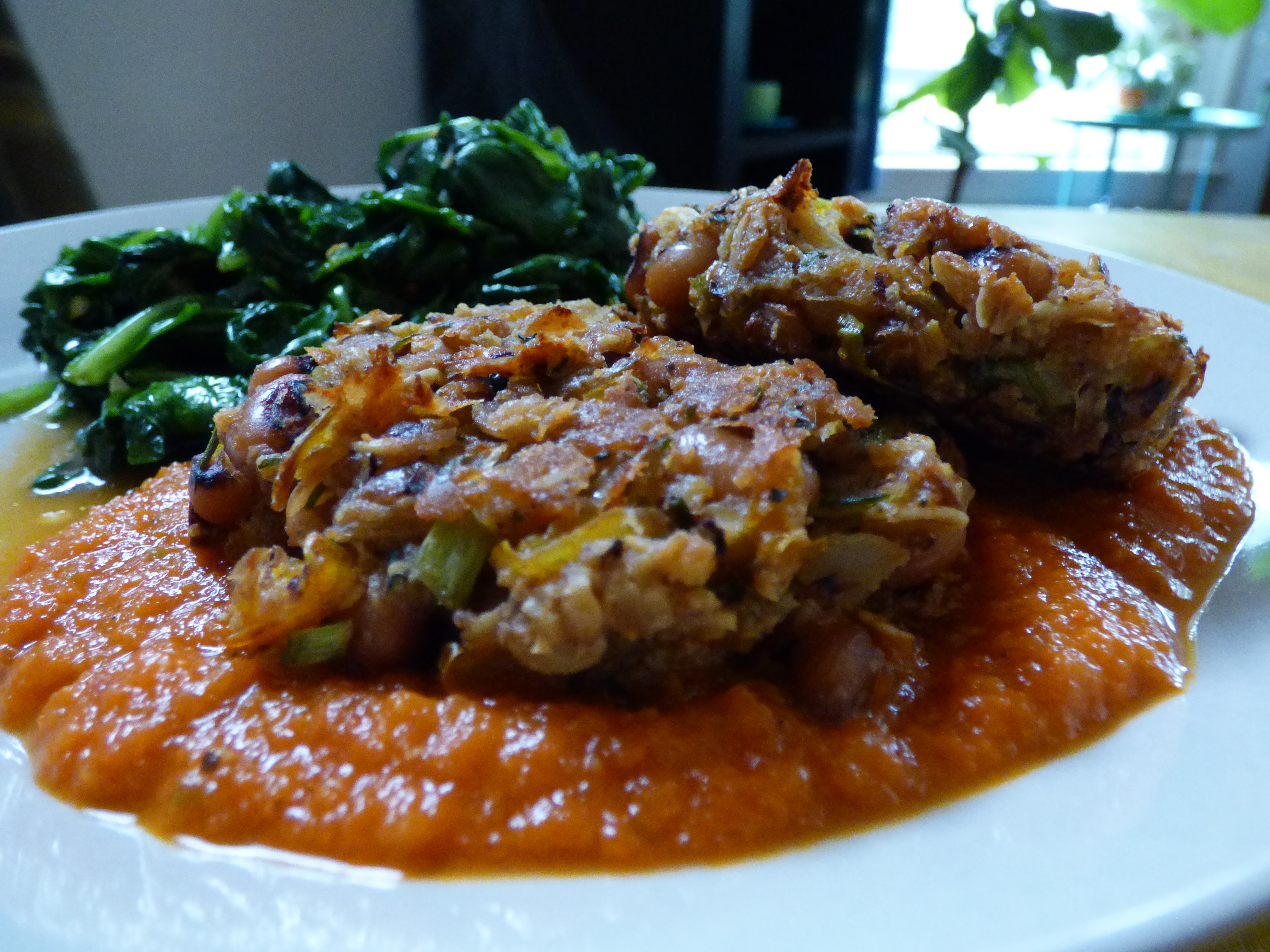 Black-Eyed Pea Fritters with Spicy Tomato Sauce – i