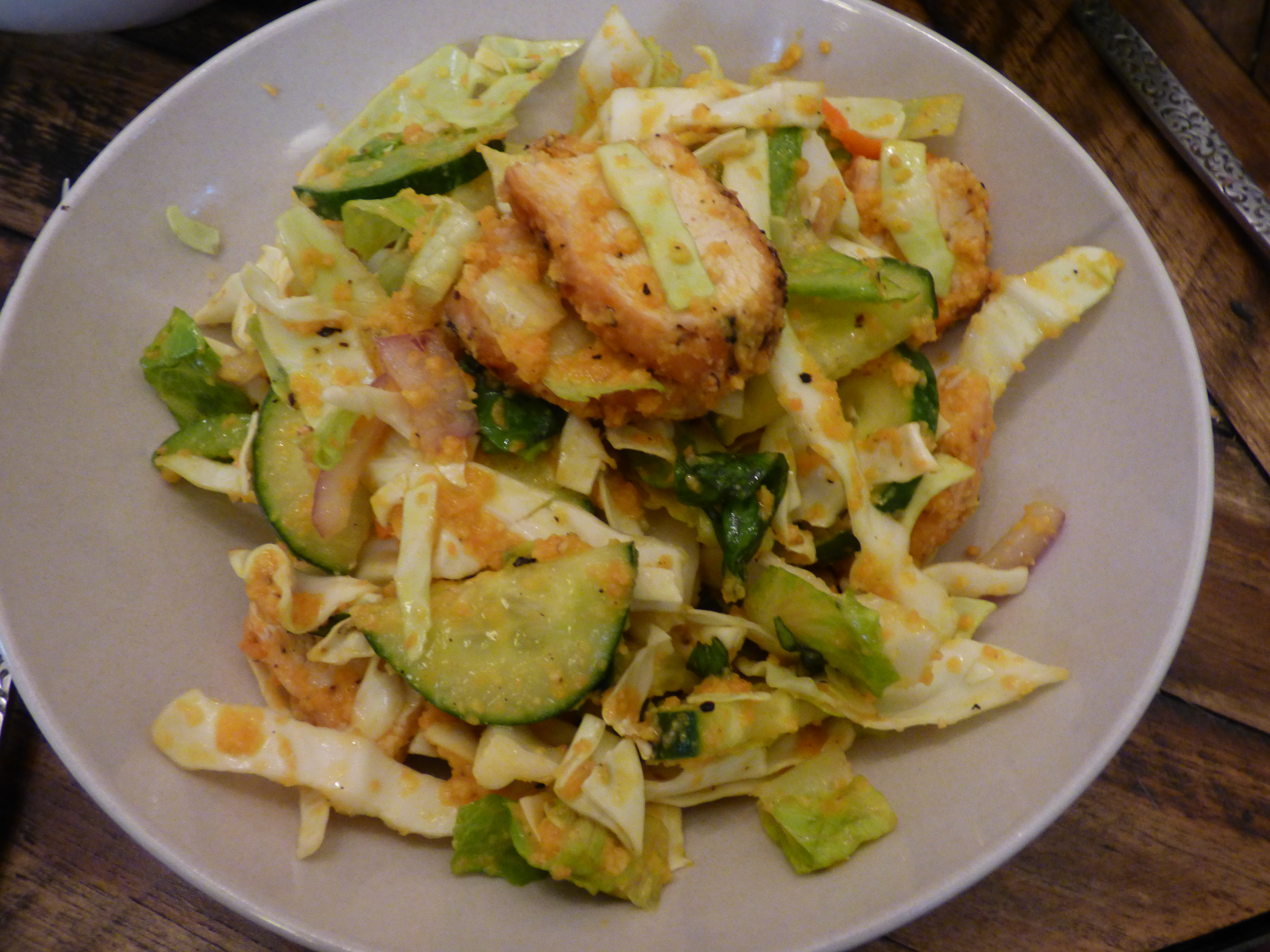 Grilled Chicken Salad with Miso Ginger Dressing – i