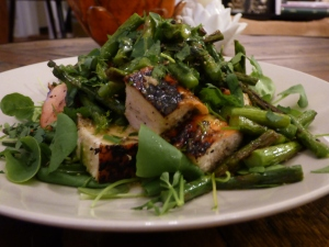Grilled Chicken and Asparagus over Watercress