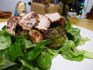 Roasted Chicken & Brussels Sprouts over Bibb Lettuce with Meyer Lemon Vinaigrette